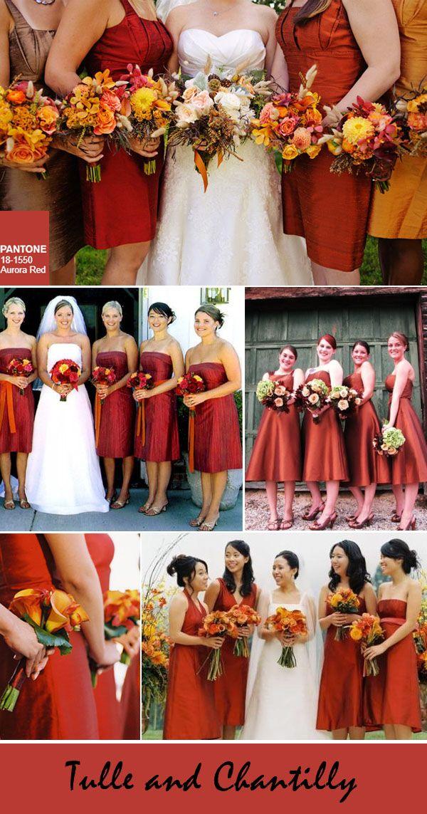 top 10 pantone colors-aurora red fall bridesmaid dresses color ideas