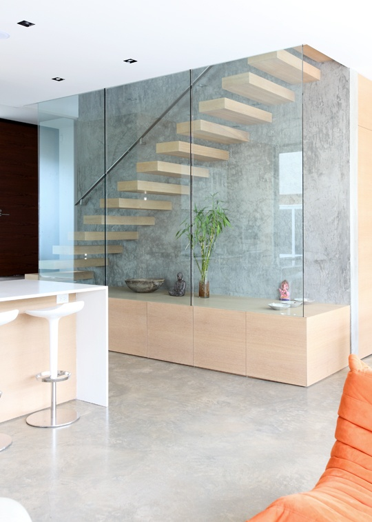 Stairs lovely cantilevered stair detail designed by for Enclosed staircase design