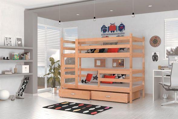 Łóżko SILIA to piętrowe dla dzieci jest rewelacyjnym rozwiązaniem do dziecięcego pokoju. Łóżko jest w 100% wykonane z naturalnego drewna sosnowego, materiału niezwykle trwałego oraz ponadczasowego.