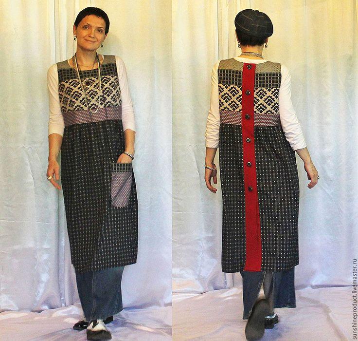 Купить Фартук-платье - комбинированный, абстрактный, фартук, накидка, платье без рукавов, сарафан, стиль