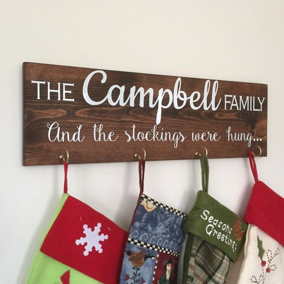 Cute idea for hanging stockings https://www.etsy.com/listing/258371016/christmas-stockings-christmas-stocking