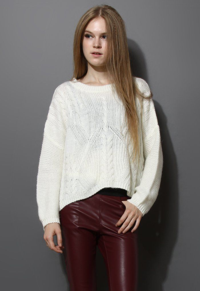 Cable Knit Pullover Sweater - Retro, Indie and Unique Fashion