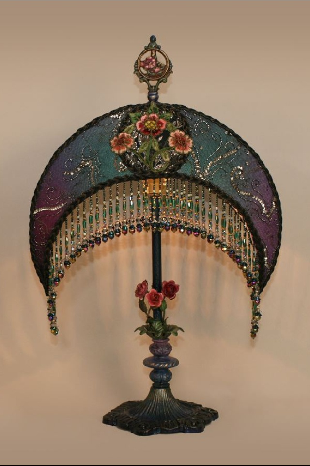 17 best images about lamp shades on pinterest purple for Purple beaded lamp shade