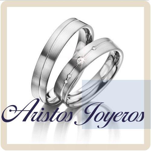 Dúo de argollas en oro blanco 14kl... fabricadas a tu medida y gusto ! www.aristos-joyeros.com