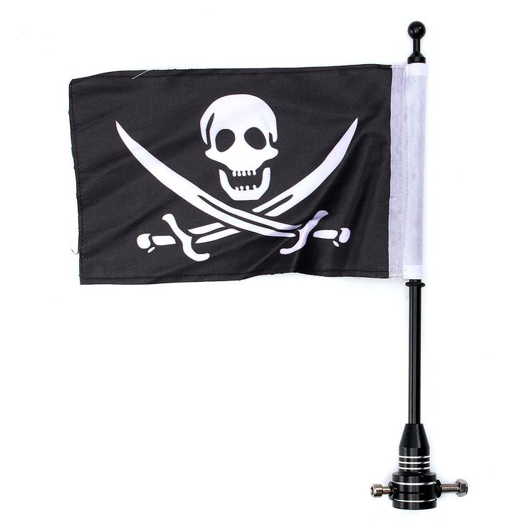 Motorcycle Bike Rear Flag Pole Mount Skull Flag For Harley Davidson Luggage Rack