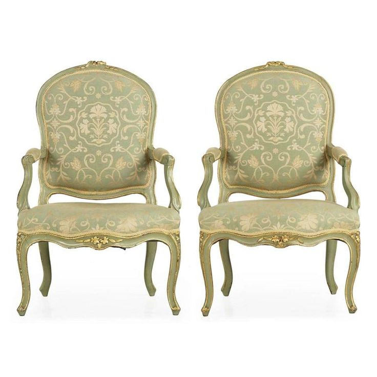 Pair of French Louis XV Style Green Painted Antique Armchairs, 19th Century 1