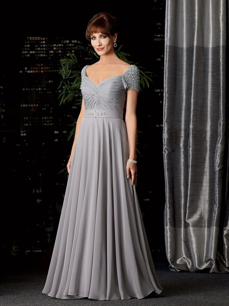 Elegant Square Floor Length Chiffon A Line Mother Of The Bride Dress
