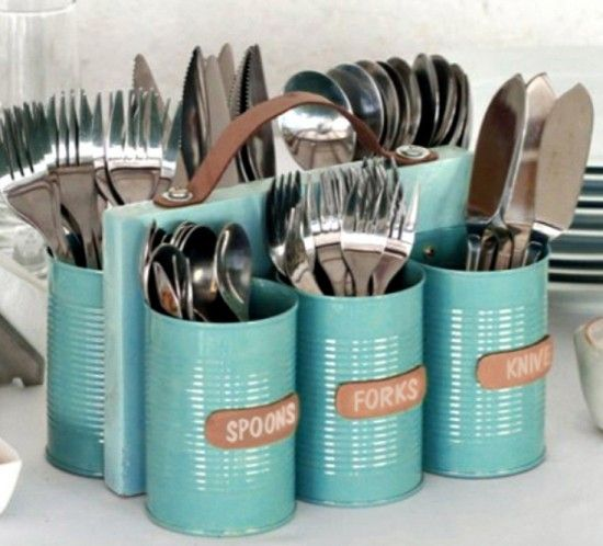 Upcycled Tin Can Cutlery Caddy Tutorial