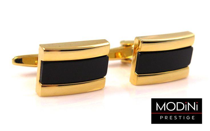 Złote spinki do mankietów z czarnym prostokątem - https://modini.pl/28-spinki-do-mankietow