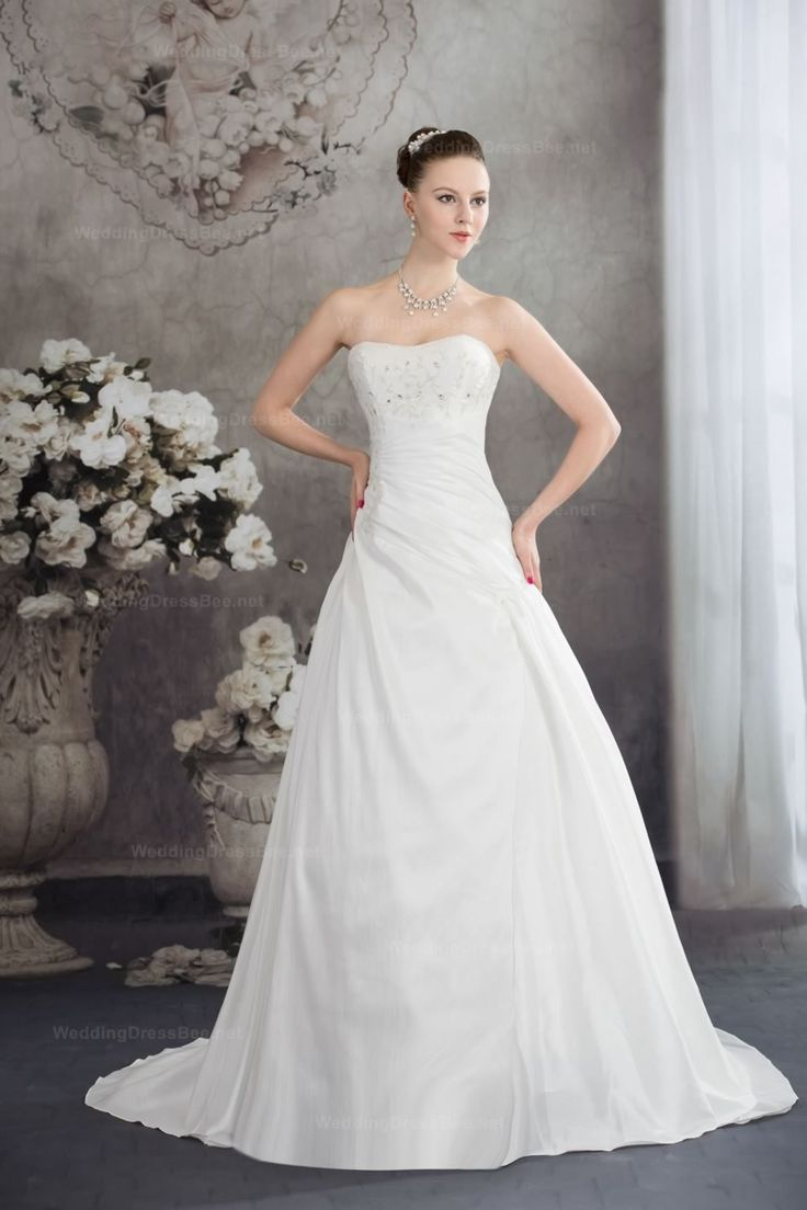 Beautiful Strapless A-Line Taffeta Wedding Dress With Beading And Embroidery Detail