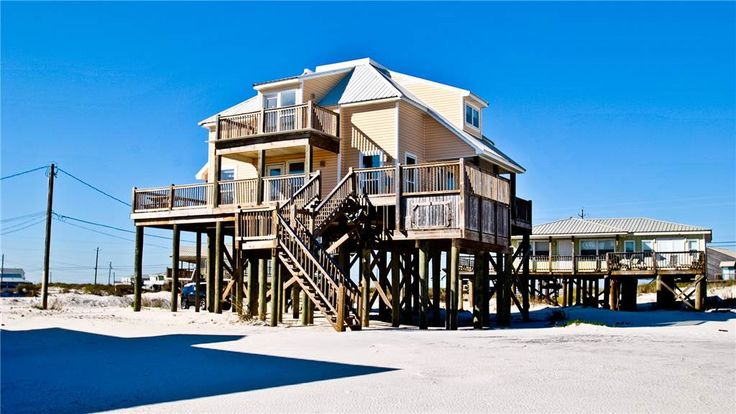 Kowabunga is a great Dauphin Island Beach house with many amenities, including a small, private heated dipping pool, a Game Room, roof-top deck and great Gulf Beach location. No wonder it's one of our most popular Dauphin Island beach rentals!<br> <br> This pet-friendly Gulf-side elevated beach house sits just one house back from the Gulf, and so it has tremendous views! The rooftop crow's nest offers a panoramic view of the island. This home also has a small Game Room, wh...