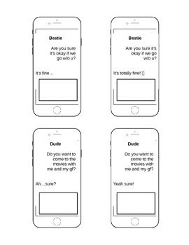 This is a great tool when working with adolescents on the social communication of texting. The students read the texts and decide what they would say next depending on the situation, or what their communication partner may respond with. Texting requires a lot of perspective taking as well as inferencing which are both difficult skills for students with pragmatic difficulties.