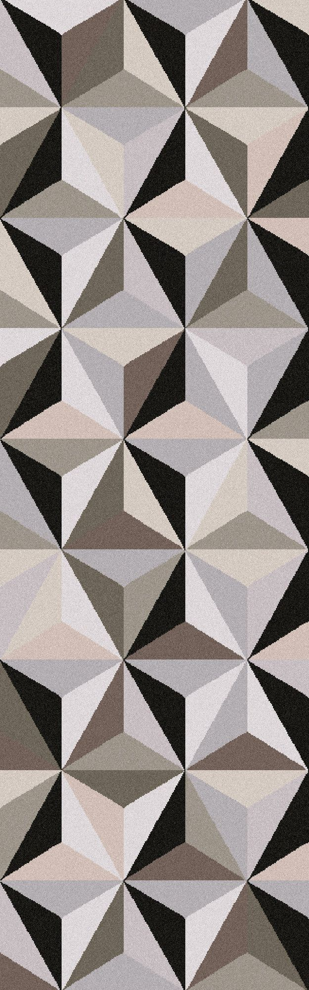 The formation of triangles and different shade work together and create cube like shapes across the screen.