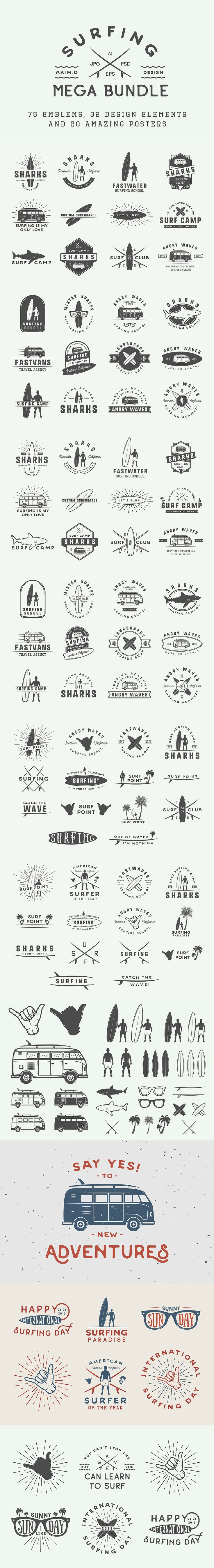 Set of Vintage Surfing Emblems. Download here: https://creativemarket.com/AkimD/721895?u=ksioks