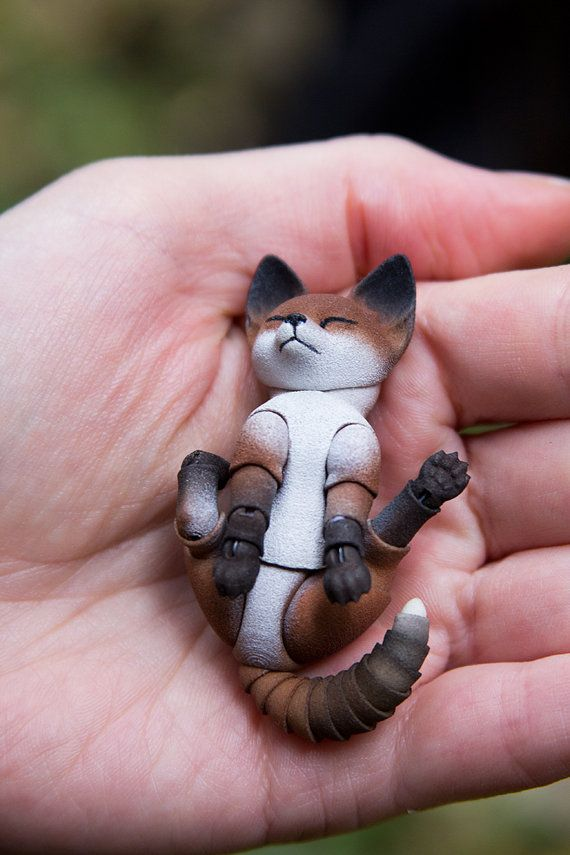 Pre-order. Fox cub 3D printed BJD doll 4,5 cm; 5.5 cm; 6.5 cm; 7.5 cm with one…