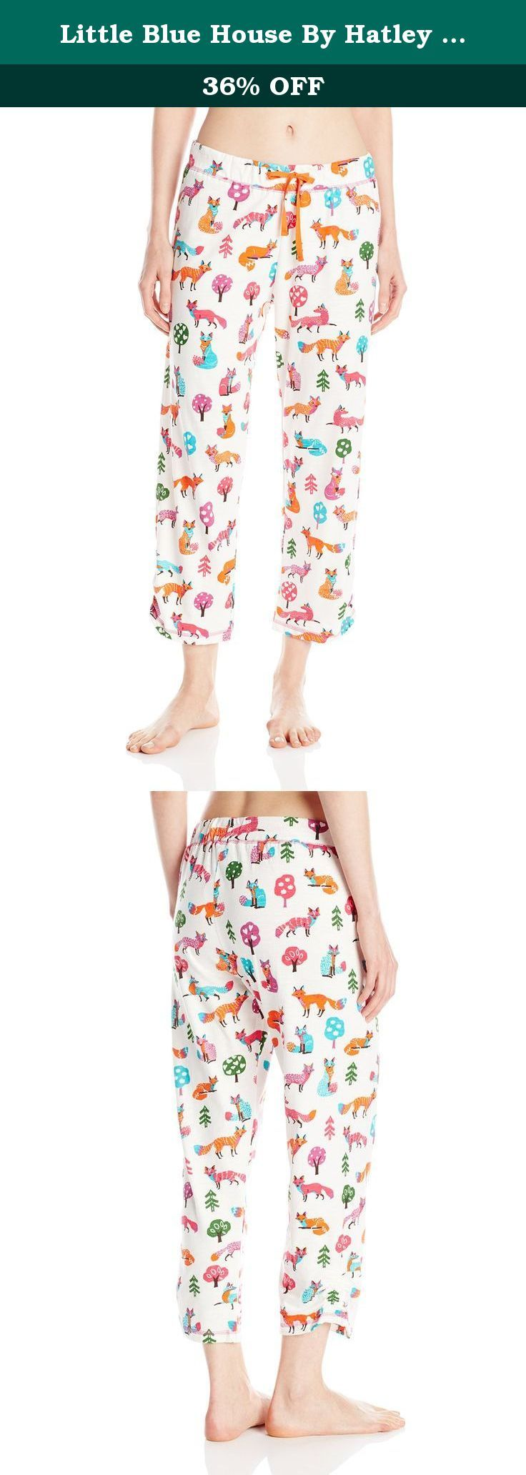Little Blue House By Hatley Women's LBH Party Fox Ladies Pajama Capris, Cream, Small. Keep cool in these cropped pajama pants! featuring original Hatley overall print designs, drawstring and elastic waist and sweet rouching detail at the hem! look for matching tops.