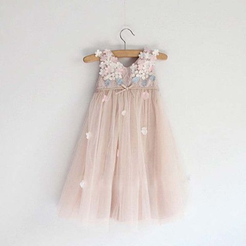 Gorgeous Blush Pink Flowers Girl Dress - Beestyledkids  - 1