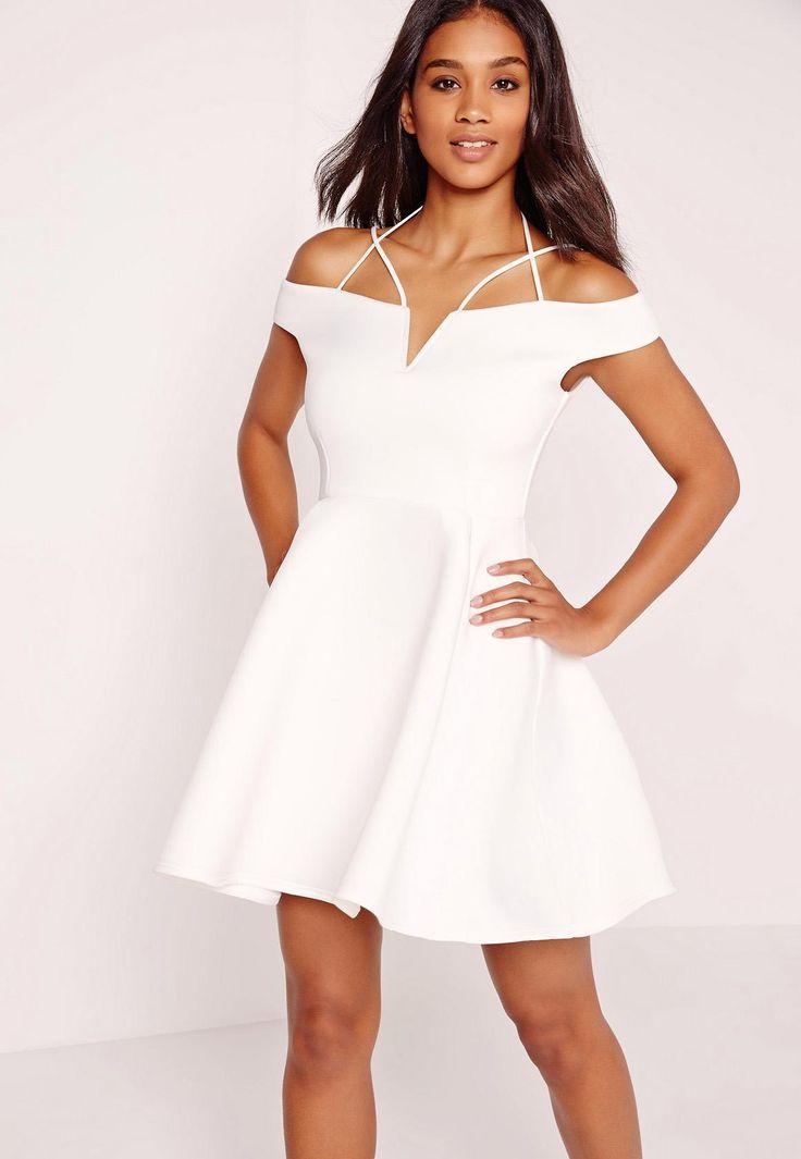 Missguided - Strappy Bardot Skater Dress White