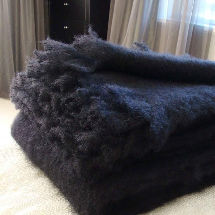Raven Black Mohair Blankets