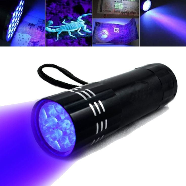 Negro de Aluminio Mini UV ULTRA VIOLET 9 LED LINTERNA Antorcha Lámpara de Luz Púrpura para Comprobar El Dinero Cheque Tarjeta de Crédito