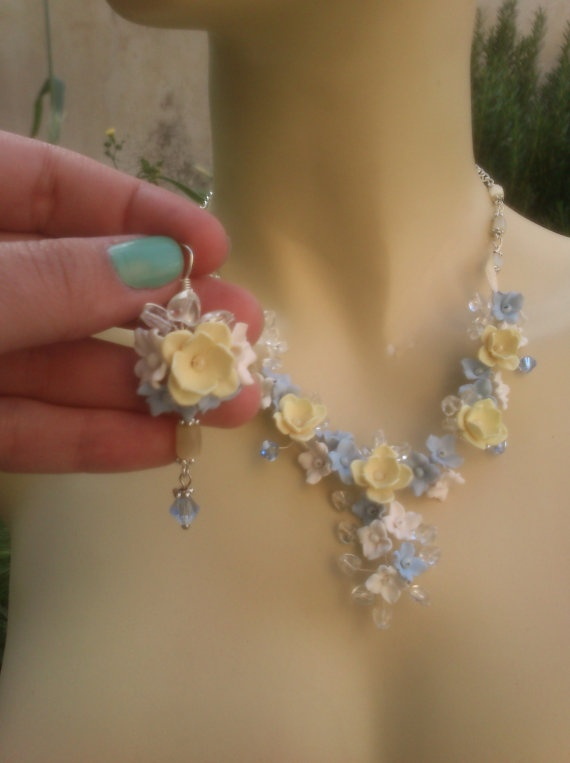 Pastel jewelry  Polymer necklace and earrings  Floral by insou, $60.00