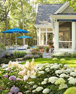 A summer backyard. Market umbrellas, screen porch, and hydrangea. Photo by Greg
