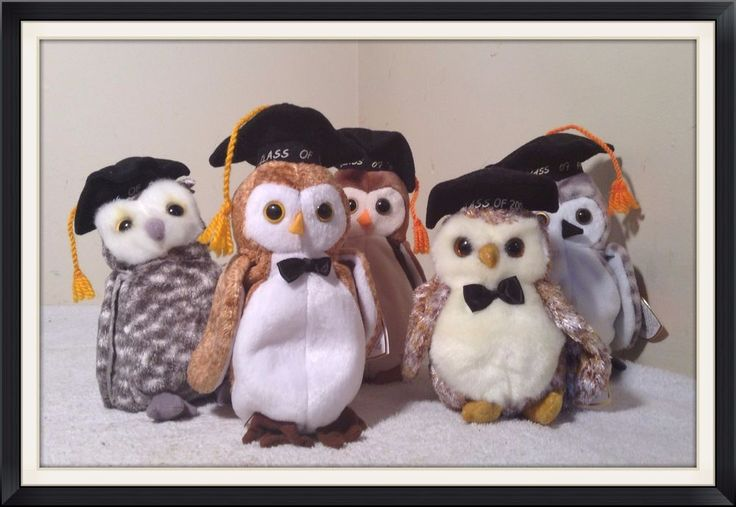 NWT LOT of 5 TY Beanie Babies OWLS Baby WISE SMART WISER WISEST SMARTER #Ty