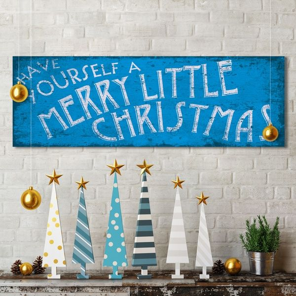 Portfolio Canvas Decor IHD Studio 'Merry Little Xmas' 12-inch x 36-inch Holiday Canvas Print Wall Art