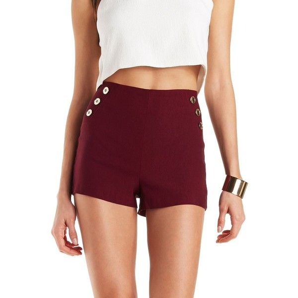 Charlotte Russe High-Rise Sailor Shorts ($18) ❤ liked on Polyvore featuring shorts, burgundy, high waisted metallic shorts, embellished shorts, high rise shorts, highwaisted shorts and pull on shorts