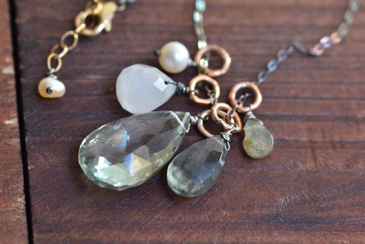 Green Amethyst Cluster Necklace - Oxidized Sterling Silver Necklace - Moss Aquamarine Teardrop Necklace -14kt Gold Link Mixed Metal Necklace by JooniJewelry on Etsy https://www.etsy.com/listing/266141314/green-amethyst-cluster-necklace-oxidized