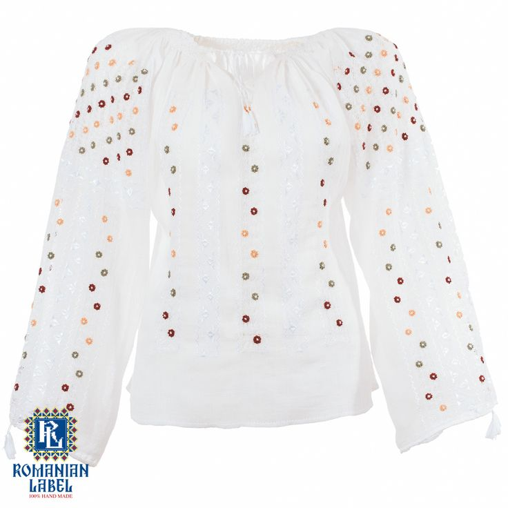 $161 A 100% hand made traditional blouse, exclusively tailored out of natural materials, such as white cotton, red, yellow, green and white silk embroidery.