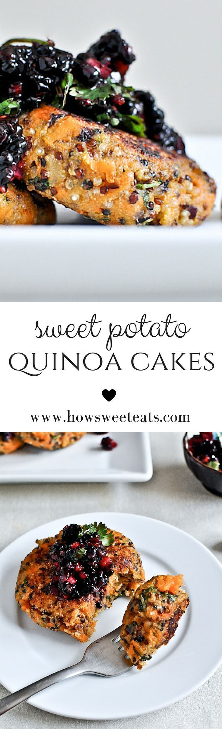 sweet potato quinoa cakes with blackberry salsa by /howsweeteats/ I http://howsweeteats.com (sweet potato snacks)