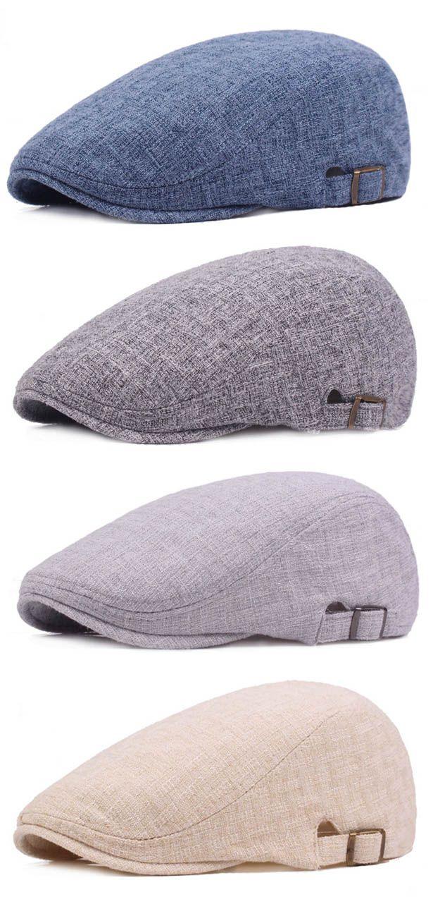 5e2e6ad33a3ac9 ... Fashion. Mens Vintage Linen Solid Color Beret Caps Casual Travel  Newsboy Forward Hat Gorras