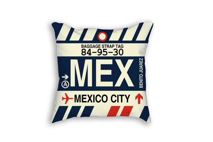 MEX Mexico City Airport Code Baggage Tag Pillow
