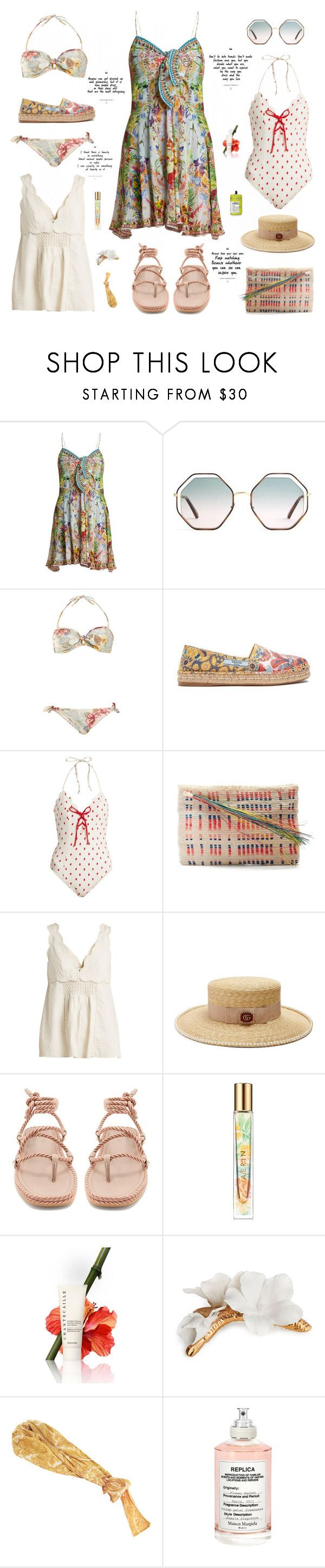 """Aloha"" by sue-mes on Polyvore featuring Camilla, Chloé, Zimmermann, Prada, Marysia Swim, Sophie Anderson, Isabel Marant, Gucci, Valentino and Estée Lauder"