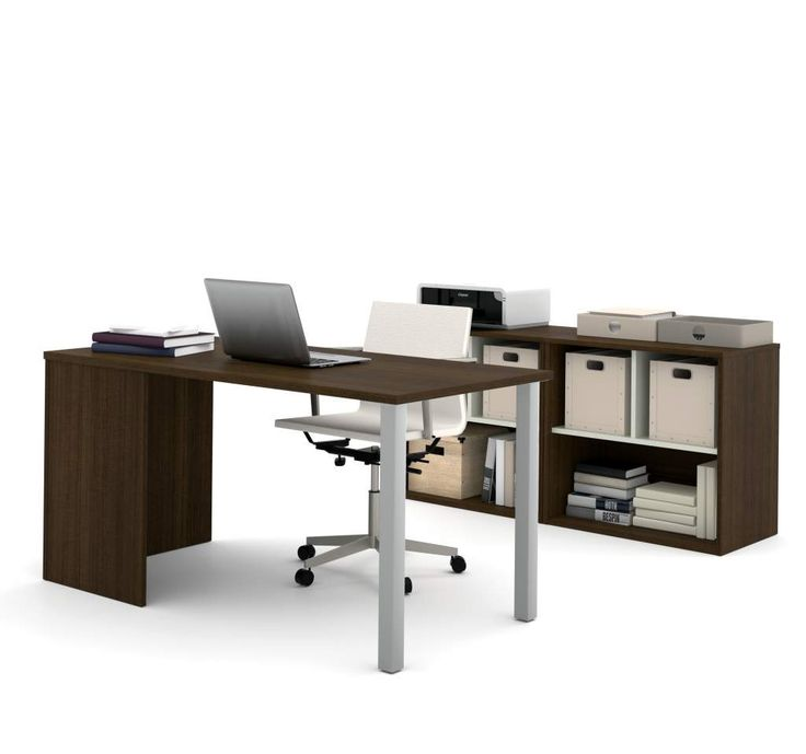 I3 By Bestar Executive Office Desk Kit In Tuxedo And Sandstone 150872 78