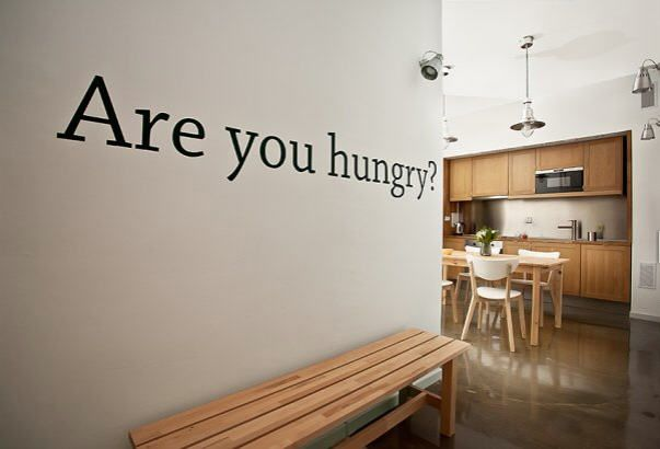 'are you hungry?' wall on your way to the kitchen..great idea