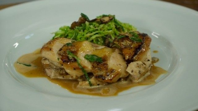 Daniel Galmiche is a master of contemporary French cooking. His decadent and hugely flavoursome dish pairs succulent guinea fowl breast with a stuffing of chestnuts and cabbage.