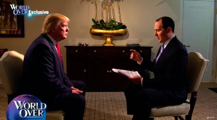Donald Trump, candidato del Partido Republicano a la presidencia de Estados Unidos, concedió una entrevista el 26 de octubre a Raymond Arroyo, en el programa World Over del canal católico EWTN.
