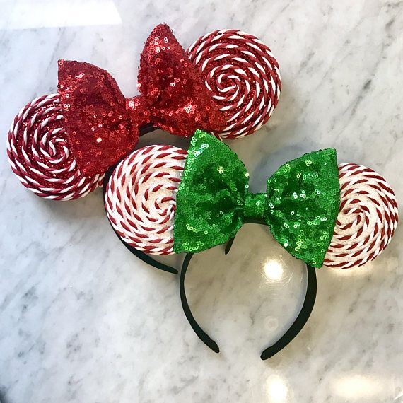 Sparkly Christmas Peppermint Mouse Ears