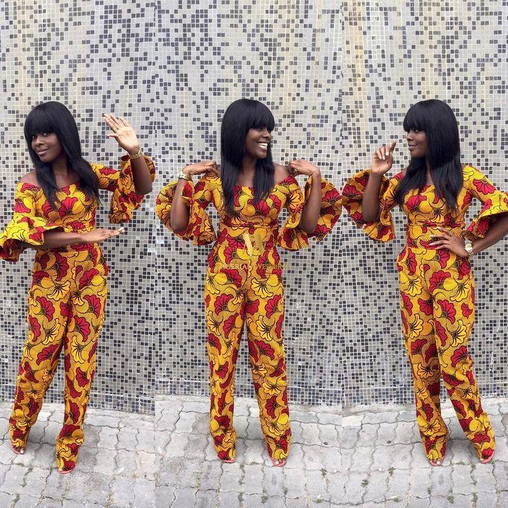 off-shoulder-balloon-sleeves-jumpsuit-classy-ankara-styles-nigerian-wedding