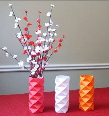 DIY easy geometric paper vase sleeve - modern home decor // Modern geometrikus váza borító papírból - filléres lakásdekoráció // Mindy - craft tutorial collection // #crafts #DIY #craftTutorial #tutorial #easter #easterCrafts #DIYEaster