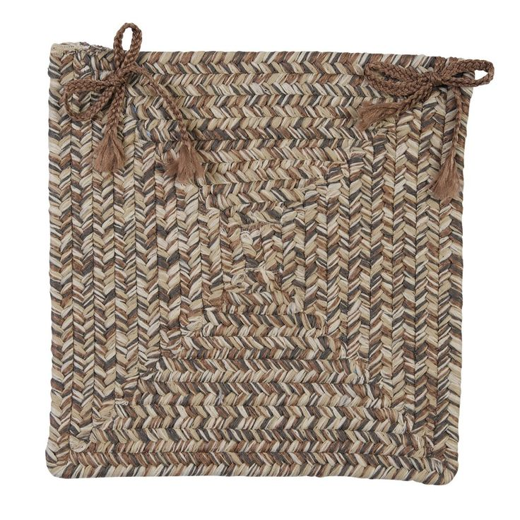 Corsica Indoor Outdoor Square Braided Chair Pad, CC89 Storm Gray