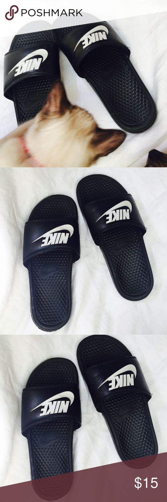 Nike Men's Slip On Sandals While not brand new, these are still looking sharp, and wash easily, are perfect for all year round. Mens size 9 Nike Shoes Sandals & Flip-Flops