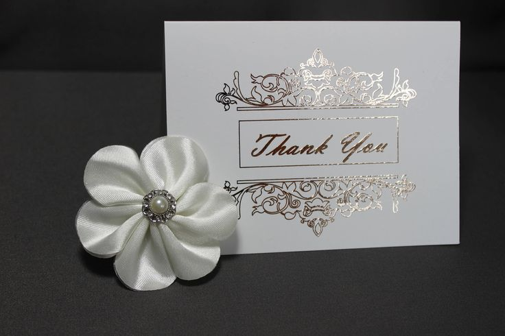 White Thank You Cards with Rose Gold Flourish by DazzlingCreationsCA on Etsy