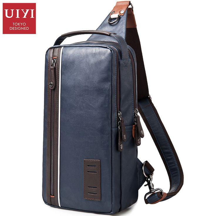 UIYI Men Casual Pu Leather Shoulder Bag Famous Designer Brands High Quality Male Chest Pack Men Travel Bags Messenger Bags #Designer handbags