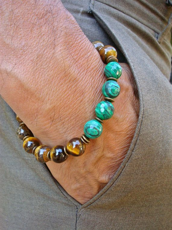 Men's Spiritual Healing, Protection Bracelet with Semi Precious Tiger's Eye, Faceted Malachite, Brass, Wood- Fortune Success Man Bracelet