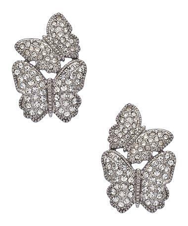 Carolee Silver and Crystal Butterfly Earrings #maxandchloe