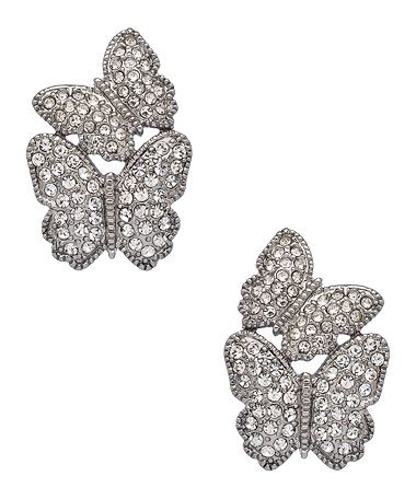 Carolee Silver and Crystal Butterfly Earrings #maxandchloe