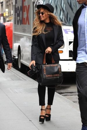 Beyonce Knowles wearing Givenchy Pandora Satchel Bag, Giuseppe Zanotti Fall 2013 Suede Platform Sandals, Ray-Ban Rb3447 Round Metal Sunglasses and Erica M Mani Bodysuit